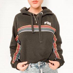 VS PINK Black Rainbow Strip Hoodie Sweatshirt